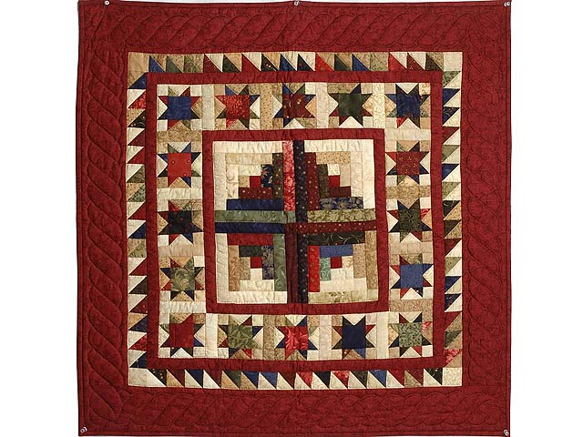 Barn Red Tan and Multicolor Stars Around the Cabin Wall Hanging Photo 1