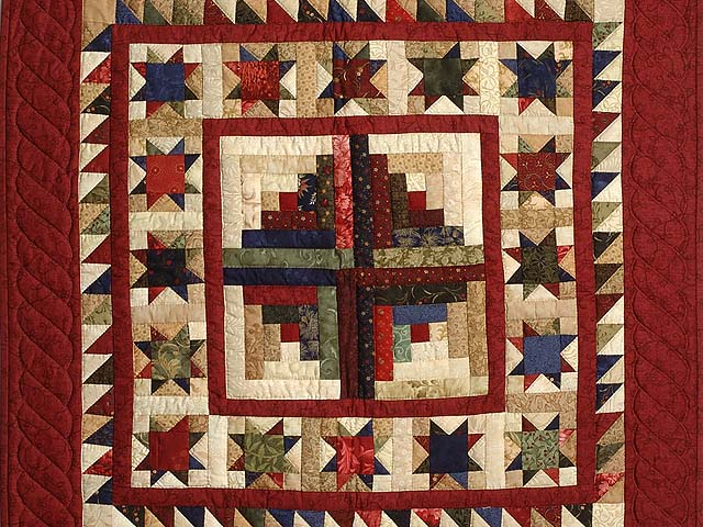 Barn Red Tan and Multicolor Stars Around the Cabin Wall Hanging Photo 2