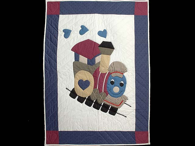 Blue and Plum Thomas Train Crib Quilt Photo 1