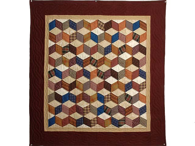 Burgundy Plaids Tumbling Blocks Wall Hanging Photo 1