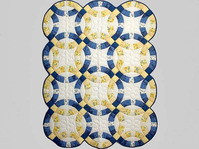 Blue and Yellow Double Wedding Ring Crib Quilt Photo 1