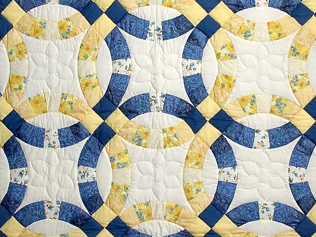 Blue and Yellow Double Wedding Ring Crib Quilt Photo 2