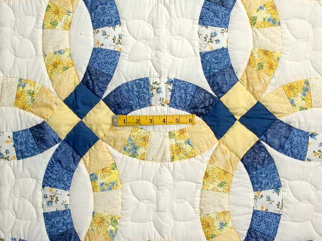 Blue and Yellow Double Wedding Ring Crib Quilt Photo 3