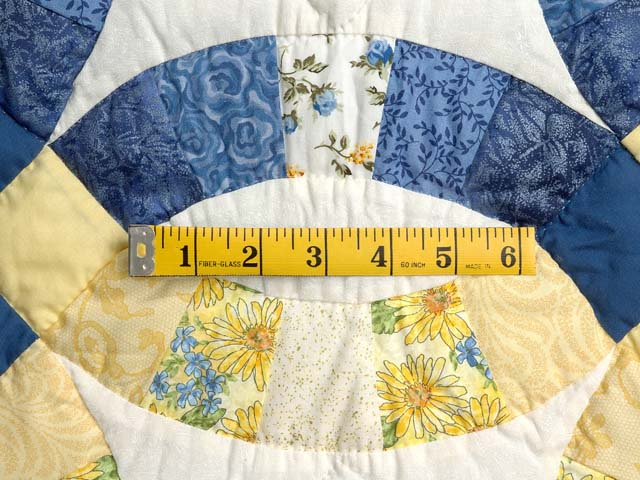 Blue and Yellow Double Wedding Ring Crib Quilt Photo 4