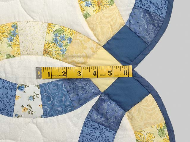 Blue and Yellow Double Wedding Ring Crib Quilt Photo 6