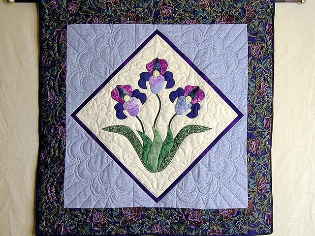 Blue and Purple Iris Applique Wall Hanging Photo 1