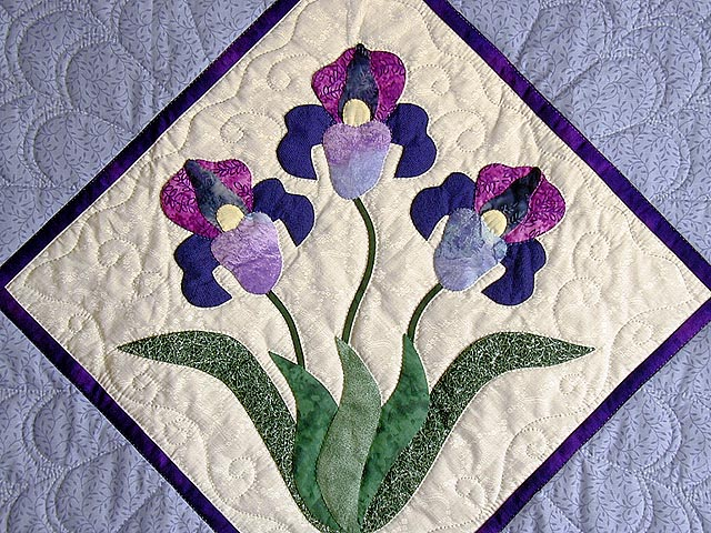 Blue and Purple Iris Applique Wall Hanging Photo 2