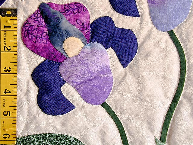 Blue and Purple Iris Applique Wall Hanging Photo 3