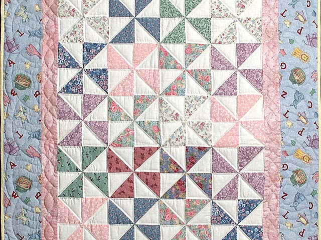 Pastel Blue and Pink Pinwheels Crib Quilt Photo 2