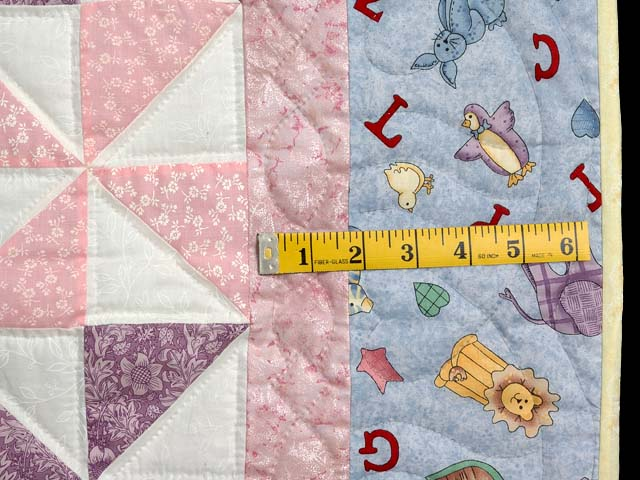 Pastel Blue and Pink Pinwheels Crib Quilt Photo 5