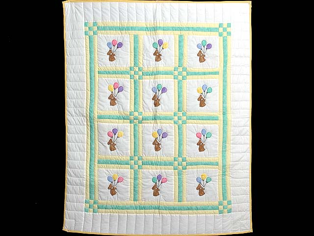 Green and Yellow Teddy Bear Crib Quilt Photo 1