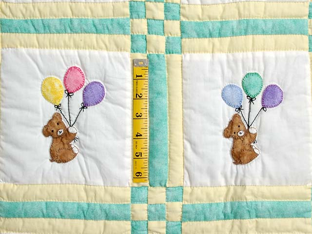 Green and Yellow Teddy Bear Crib Quilt Photo 3