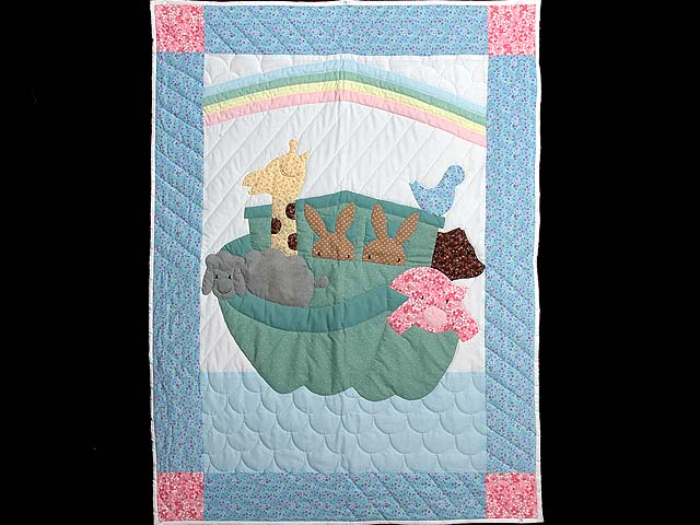 Aqua Blue and Hot Pink Noahs Ark Crib Quilt Photo 1