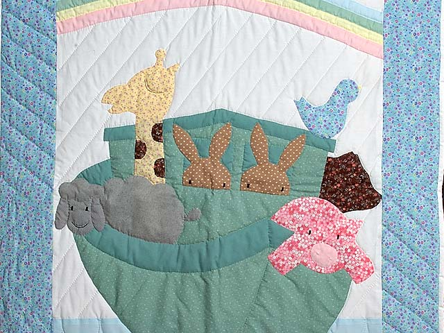 Aqua Blue and Hot Pink Noahs Ark Crib Quilt Photo 2