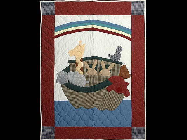 Bold Burgundy Noahs Ark Crib Quilt Photo 1