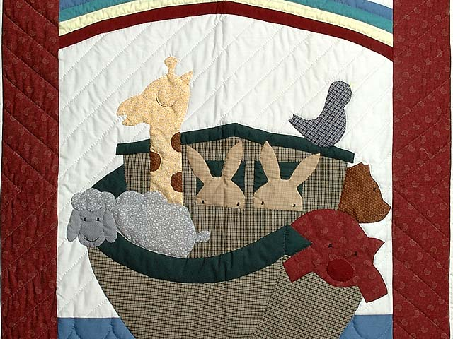 Bold Burgundy Noahs Ark Crib Quilt Photo 2