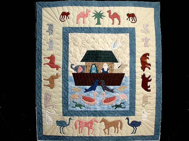 Noahs Ark Applique Crib Quilt Photo 1