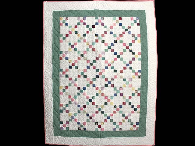 Green and Multicolor Nine Patch Crib Quilt Photo 1