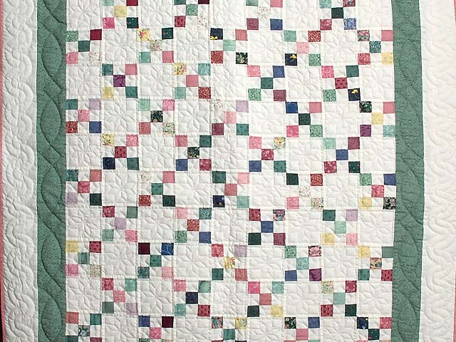 Green and Multicolor Nine Patch Crib Quilt Photo 2