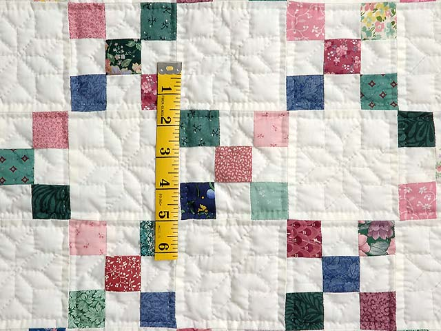 Green and Multicolor Nine Patch Crib Quilt Photo 3