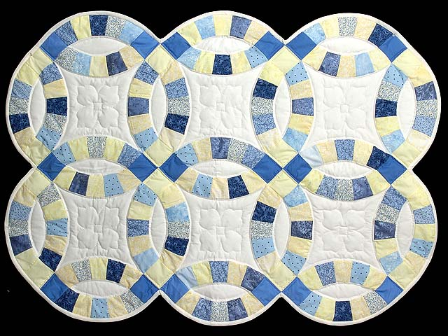Blue and Yellow Double Wedding Ring Small Quilt Photo 1
