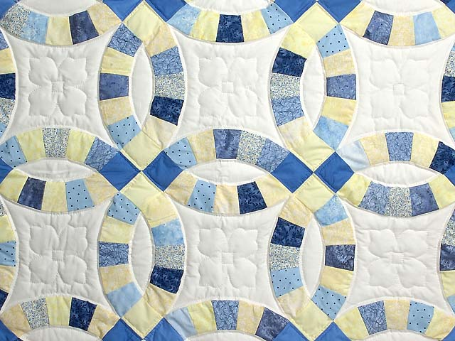 Blue and Yellow Double Wedding Ring Small Quilt Photo 2