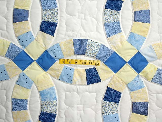 Blue and Yellow Double Wedding Ring Small Quilt Photo 3