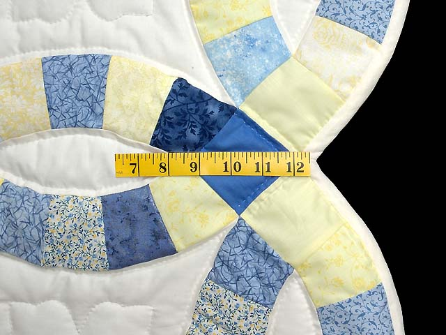 Blue and Yellow Double Wedding Ring Small Quilt Photo 5
