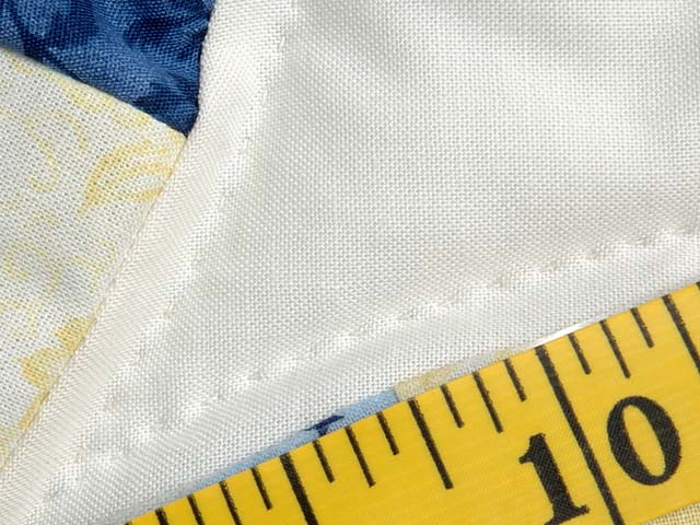 Blue and Yellow Double Wedding Ring Small Quilt Photo 6