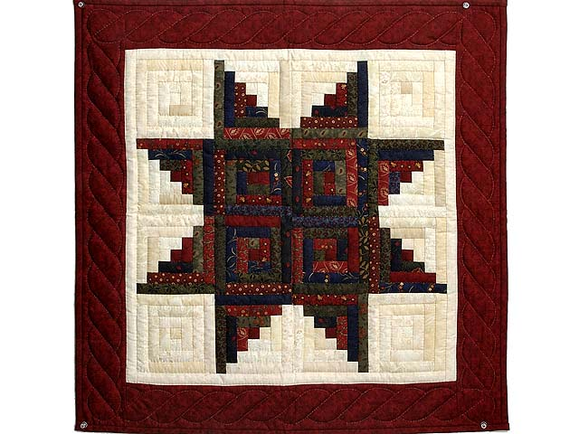 Burgundy Navy and Green  Log Cabin Star Wall Hanging Photo 1