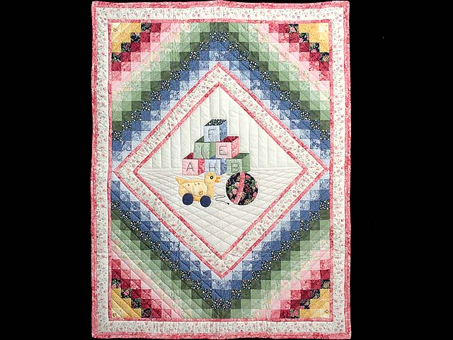 Rose and Pink ABC Crib Quilt Photo 1