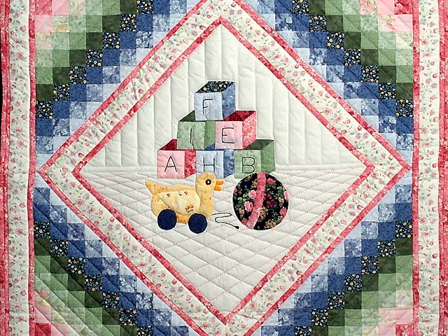 Rose and Pink ABC Crib Quilt Photo 2