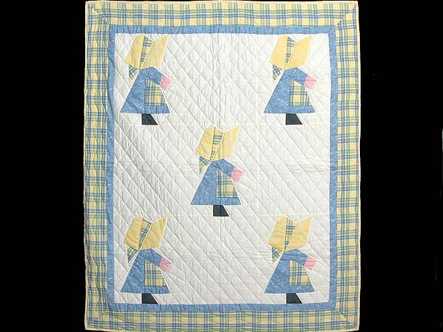 Pastel  Blue and Yellow Holly Hobby Crib Quilt Photo 1