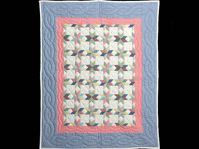 Pastel Blue Pink and Multi Little Stars Crib Quilt Photo 1
