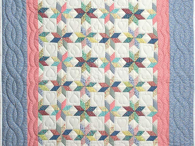Pastel Blue Pink and Multi Little Stars Crib Quilt Photo 2
