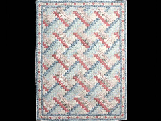 Blue and Pink Weavers Fever Crib Quilt Photo 1