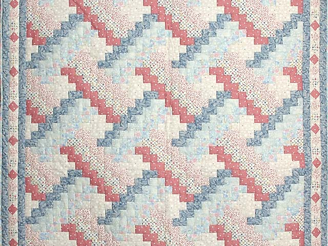 Blue and Pink Weavers Fever Crib Quilt Photo 2