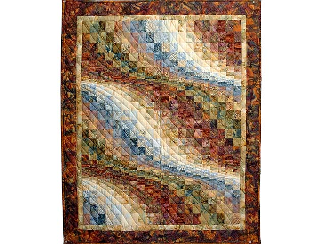 Gold and Multi Hand Painted Bargello Wave Wall Hanging Photo 1