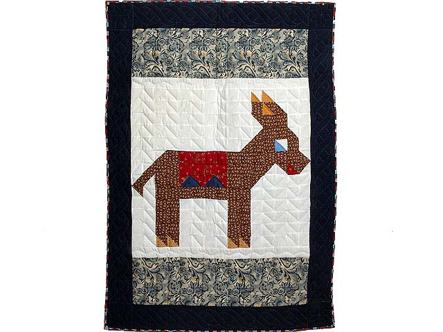 Patriotic Donkey Patchwork Crib Quilt Photo 1