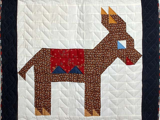Patriotic Donkey Patchwork Crib Quilt Photo 2