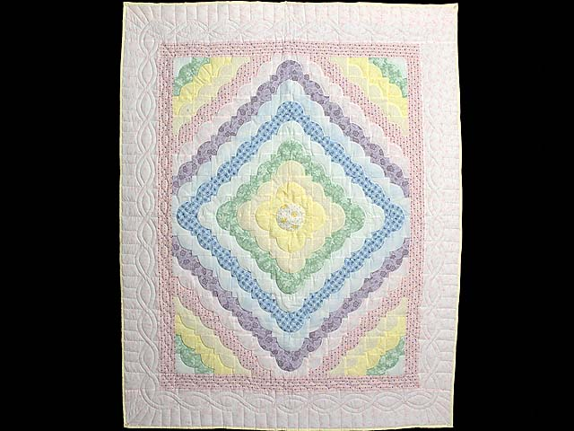 Pink and Pastels Ocean Wave Crib Quilt Photo 1