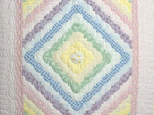Pink and Pastels Ocean Wave Crib Quilt Photo 2