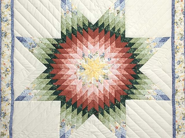 Green and Multicolor Lone Star Crib Quilt Photo 2