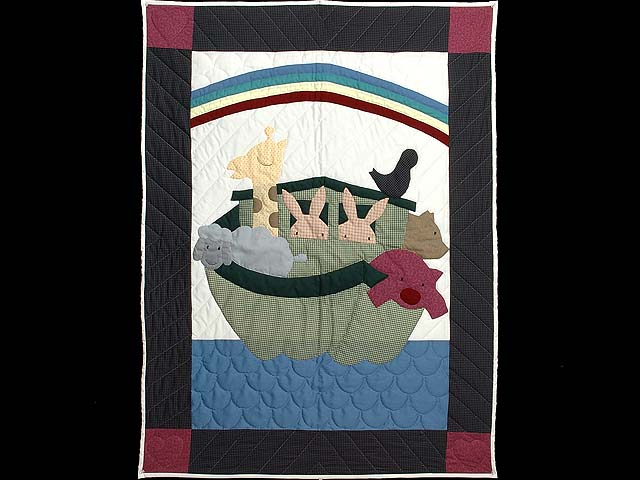 Charcoal and Plum Noahs Ark Crib Quilt Photo 1