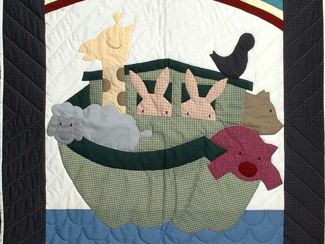 Charcoal and Plum Noahs Ark Crib Quilt Photo 2