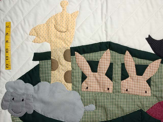 Charcoal and Plum Noahs Ark Crib Quilt Photo 3