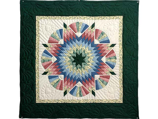 Dark Green Blue and Rose Cathedral Star Wall Hanging Photo 1