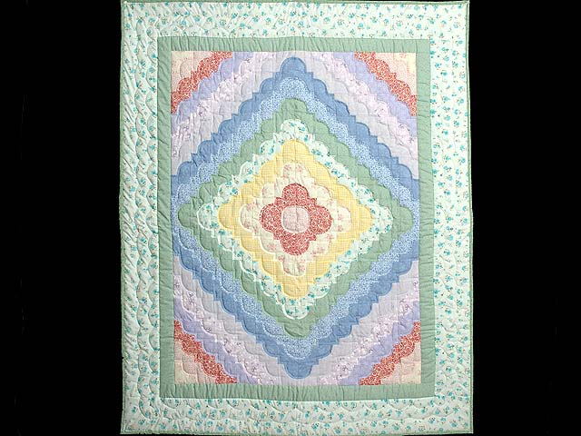 Green Yellow and Multi Ocean Wave Crib Quilt Photo 1