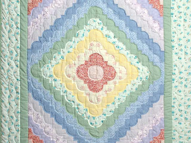 Green Yellow and Multi Ocean Wave Crib Quilt Photo 2