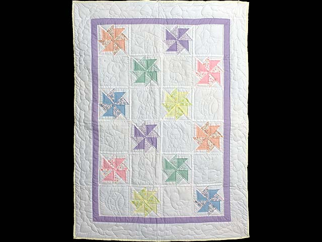 Pastel Lavender and Multicolor Pinwheels Crib Quilt Photo 1